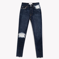 Skinny Dark Whiskers Frayed High Rise Jeans