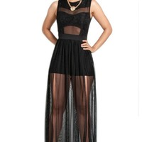 Black Sheer Skirt Maxi Dress with Mesh Insert Top