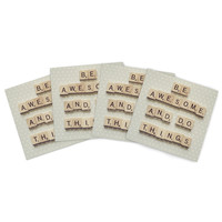 "Cristina Mitchell ""Be Awesome And Do Things"" Wooden Letters Indoor/Outdoor Place Mat (Set of 4)"