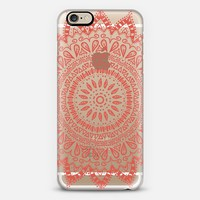 BOHEMIAN FLOWER MANDALA IN CORAL - CRYSTAL CLEAR PHONE CASE iPhone 6 case by Nika Martinez | Casetify