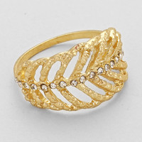 Rhinestone Leaf Cutout Ring Gold