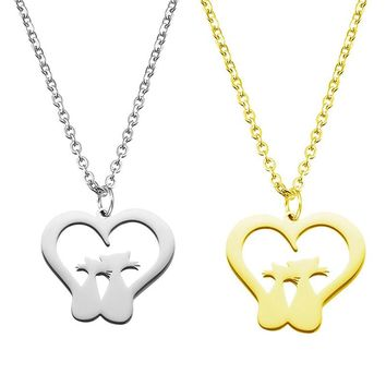 New Design Heart Shaped Two Cats Gold And Silver Color Pendant Necklace Love Valentine'S Day Gift Stainless Steel Jewelry