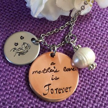 Mom Necklace - A mothers love is forever - Mothers necklace - Gift for mom - Mixed metals necklace - Expecting mom Gift