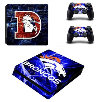Denver Broncos PS4 Slim Skin Sticker Decal for Sony PlayStation 4 Console and 2 Controller PS4 Slim Skins Sticker Vinyl