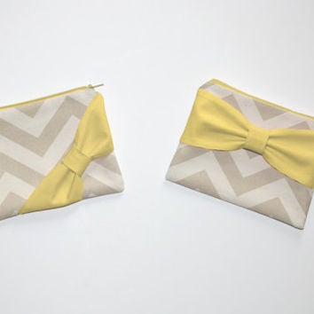 Cosmetic Case / Zipper Pouch - Natural Beige Chevron with Yellow Bow - Choice of Bow Style
