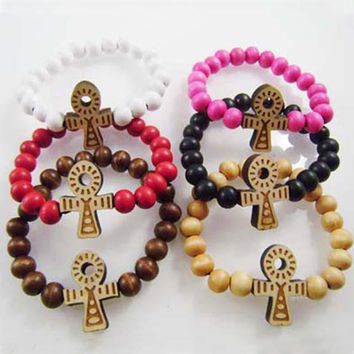 6PC/Lot   Ankh bracklet  Coss Colorful GOOD WOOD Beads Boho Beads Long Chain Pendant Wooden bracklets Hip Hop Fashion Jewelry