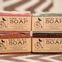 Spa Soap Set - natural soap,homemade soap,handmade soap,acne soap,Clay soap
