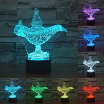 Allah god lights 7 color change lamp 3D light Acrylic Colorful Kettle Nightlight USB LED Desk Lamp Child Christmas Gift IY803506