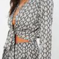 Missguided - Tall Snake Print Tie Front Top