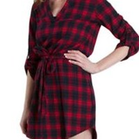 Final Touch Red and Navy Flannel Plaid Dress D12947E