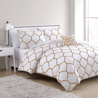 VCNY Ogee 4-Piece Comforter Set in Gold/White