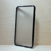 Silicone Bumper and Translucent Frosted Hard Plastic Back Case for iPhone 6 Plus (5.5 inches) - Black