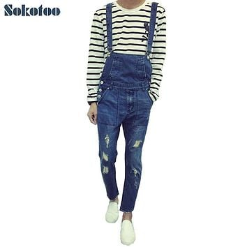 Sokotoo Men's slim hole ripped ankle length jeans Male casual denim bib overalls Jumpsuits for man