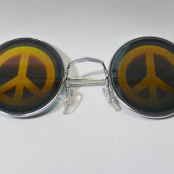 Round Sunglasses Hologram Peace Sign Sunnies Holographic Reflective 90s Millennium Hippie Silver Metallic Shiny Mirror Glasses Unisex