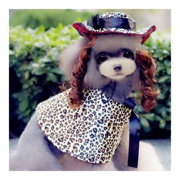 Dog Pet Clothes Cloak Wig Hat Suit  PF16 leopard print