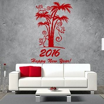 Wall Decals Happy New Year 2016 Monkey Palm Merry Christmas Decal Vinyl Sticker Home Art Bedroom Home Decor Living Room Art Murals MS654