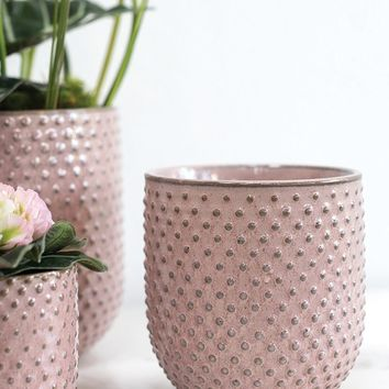 "Pink Hobnail Ceramic Everly Flower Pot - 4"" Tall x 4"" Wide"