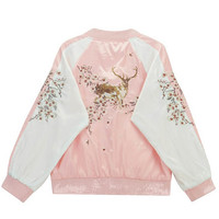 Bomber Jacket with Reindeer Embroidery