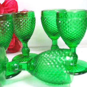 Set of Shooters Depression Green Glass with Diamond design , Vintage Barware set of 5 Footed Shooters