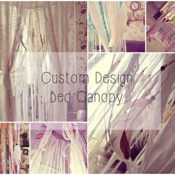Custom Design Bed Canopy - Bed Crown - Boho Nursery - Baby Crib Canopy - Bohemian Bedroom Decor - Baby Shower Decor - Made to Order