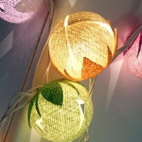 Cat Cute Cotton Ball Lights for home decoration,wedding patio,indoor string lights,bedroom fairy lights,20 Bulbs