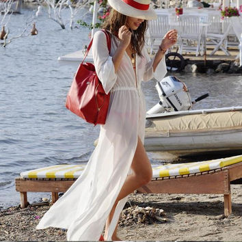 long Sleeve White Dress Skirt Beach Cover Up Kaftan long sleeved bikini cardigan swimwear sarong Beach pareo beachwear