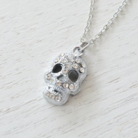 sugar skull necklace, dainty layering necklace, mini skull necklace, day of the dead, bones, skeleton, silver necklace, dia de los muertos