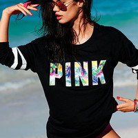 PINK Victoria's Secret Letter Print Top Sweater Pullover