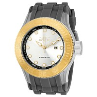 INVICTA Pro Diver Mens - Two-Tone - Silver Dial - Gray Rubber Strap - 100 Meters