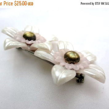NEW YEAR SALE, Celluloid Flower Brooch, 1940s Vintage Jewelry, Gift for Her