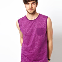 ASOS Sleeveless T-Shirt With Reverse Print And Pocket