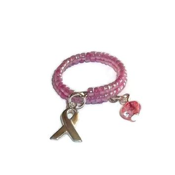 Breast Cancer Awareness Pink Beaded ArtisanCrafted Wrap Ring(sz7-9)