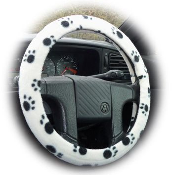 White with Black Paws paw print fleece car steering wheel cover