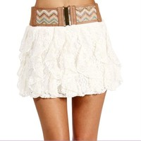 Cream Belted Ruffled Cascade Skirt