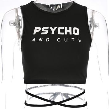 Psycho And Cute Crop Tank - shopdevi