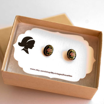 Cameo Studs earrings black floral studs black floral post earrings cameo earrings cameo post earrings shabby chic studs