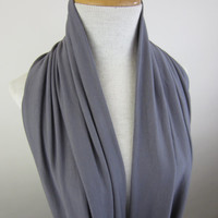 Large Grey Infinity Scarf - Soft Grey Cowl - Oversized Grey Circle Scarf