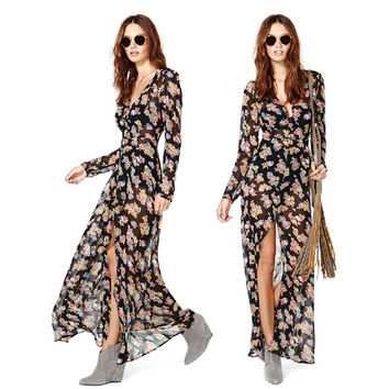 Female Women's Fashion Print Fashion Stylish Chiffon Long Sleeve New Arrival One Piece Dress = 5826328641