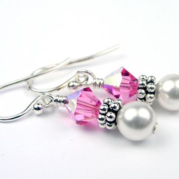 Sterling Tourmaline Earrings, October Birthstone Earrings, Freshwater Pearl Beaded Earrings, Pink Swarovski Crystals