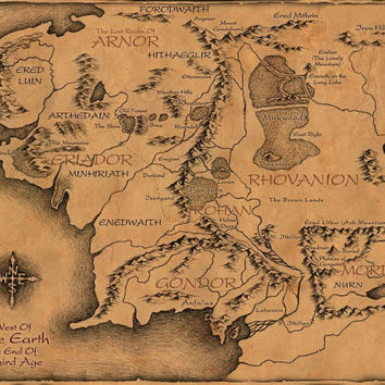 Lord of the Rings Cloth Map