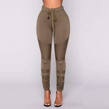 Womens Pleated Long Leggings
