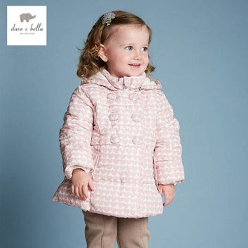 DB4090 DAVEBELLA baby girl padded jacket children winter outerwear kids grid jacket