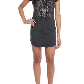 Almost Famous Lace-Up Screen Tee Dress