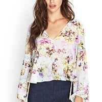 FOREVER 21 Cutout Floral Woven Top Mint/Lavender