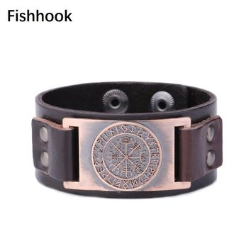 Fishhook Medieval Mythology Wicca Norse Runes Brown and Black Charms Studded Cuff Wristband Punk Adjustable Leather Bracelets