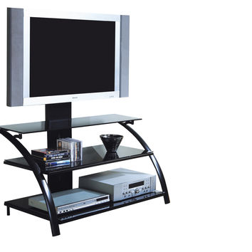 "Black Metal / Tempered Glass 42""L Tv Stand With A Bracket"
