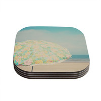 "Laura Evans ""A Summer Afternoon"" Blue Teal Coasters (Set of 4)"