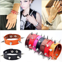 Punk Gothic Rock Leather Rivet Stud Spike Bracelet Cuff Bangle Wristband