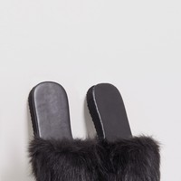 India Black Fluffy Sliders