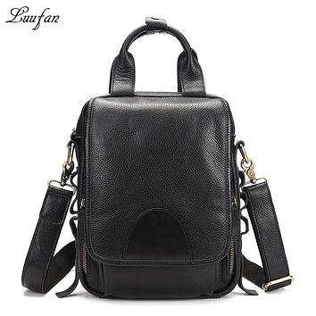 Men's genuine leather tote bag iPad real leather shoulder bag cow leather messenger bag work messenger bag zipper pocket
